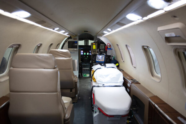 Learjet 40XR interior back to front view